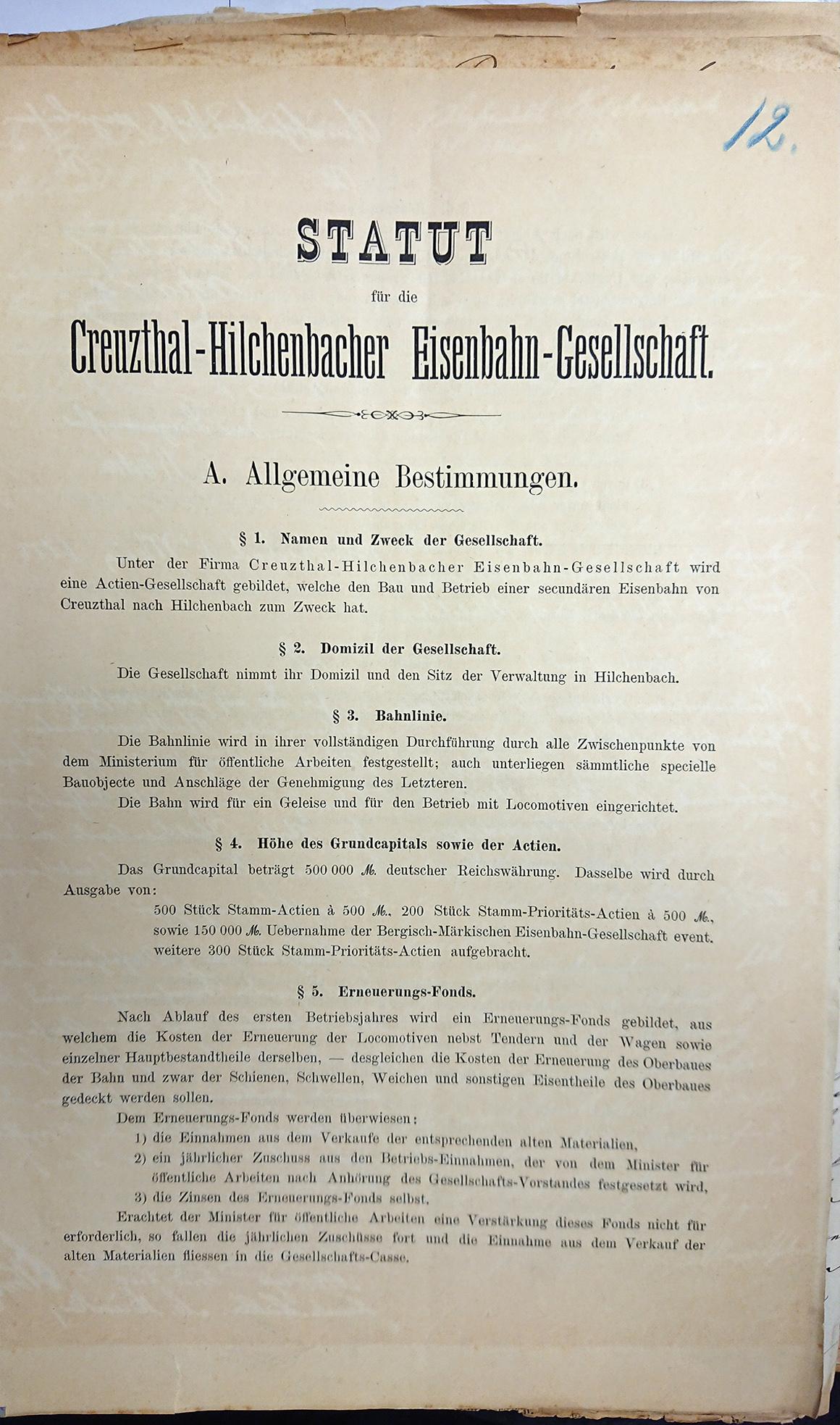 Statut für die Creuzthal-Hilchenbacher Eisenbahn-Gesellschaft