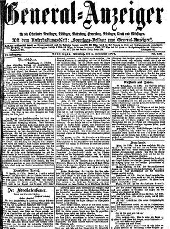Wissenschaftliche Zeitungsrecherche zum Jahr 1914
